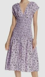 420 Keepsake Womenand039s Purple Secure Floral Smocked Button Front Midi Dress S