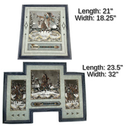Navajo Sand Paintings By Gary Lee Winter Warrior Framed Matching Set Authentic