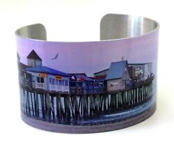 OLD ORCHARD BEACH MAINE CUFF BRACELET Beach and Pier with Moon UNIQUE $23.00