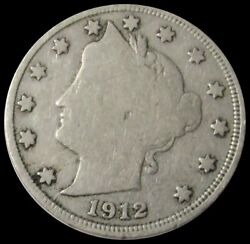 1912 S United States Liberty V Nickel Semi Key Date Coin Good Condition
