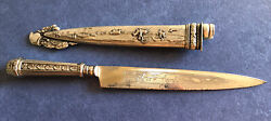 Antique Coin Silver Gaucho  Ornate Boot Knife, Sheathed