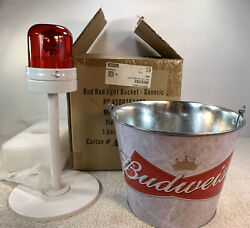 Budweiser Bud Red Light Bucket Limited Edition In Box On Off Read Dexcription