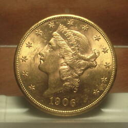 Beautiful 1906-s Gold 20 Liberty Double Dbl Eagle Coin Bu+