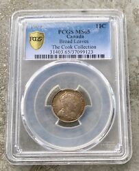 1909 Broad Leaves Canada 10 Cent Silver Coin Dime - Pcgs Ms-65