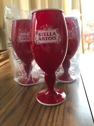 Stella Artois Red Acrylic Chalices Set Of 6 Pool Garden 4th Of July Beer Glasses
