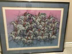 Guillaume Azoulay Exodus Signed And Numbered Serigraph Colored Print, Framed