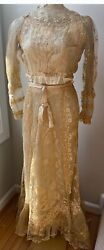 Antique Handmade Trained Brussels Lace Wedding Dress By W.r. Amory Vv822