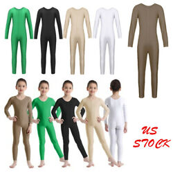 US Girls Gymnastics Jumpsuits Ballet Bodysuits Kids Dance Strechy Yoga Unitards
