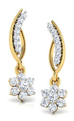 Christmas 1.26ct Natural Round Diamond 14k Solid Yellow Gold Dangler Earring