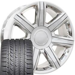 22x9 Wheel And Tire Fits Chevy Gm Escalade Chrome Rims Gy Tires 4739 Cp