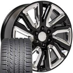 Cp 22 Wheels And Tires Fit Chevy Gm Cadillac High Country Black W/chrome Gy