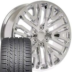 22 In Chrome Wheels And Goodyear Tires Set Fit Gmc Cadillac Chevy High Country