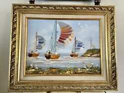 Vintage Brian Roche Oil On Canvas Painting Nautical Boats Lighthouse Scene