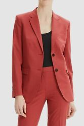 1145 Theory Womenand039s Red Classic Virgin-wool 2 Button Suit Blazer Jacket Size 4