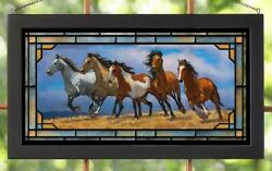 Over The Top - Horses Stained Glass Art By Chris Cummings