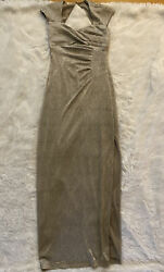 Ralph Lauren Gold Evening Dress Art Deco Style Ruched Side Slit Gown Size 2 $17.99