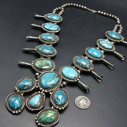 Magnificent Vintage Navajo Sterling Silver Turquoise Squash Blossom Necklace