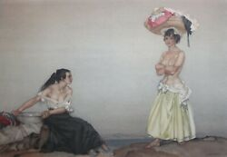 William Russell Flint-british Realist-signed Lim.ed Color Litho-rosa And Marisa