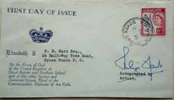 Jamaica 1956 Doctor Bird 6 Pence Stamp First Day Cover Signed Philip Hart Artist