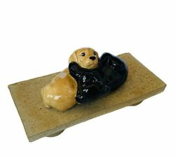 Wade Figurine Whimsies Whimsy England Puppies Dogs Puppy Signed Stand Lab Black