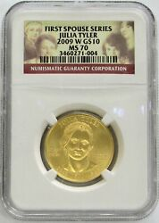 2009 W Gold 10 Julia Tyler 1/2oz Spouse 3,143 Minted Coin Ngc Mint State 70