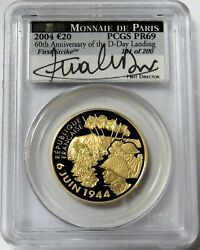 2004 Gold France 200 Minted 20 Euro D-day Landing Signed Pcgs Pr 69 Fist Strike