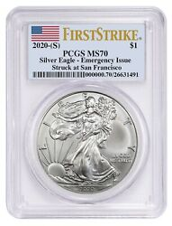2020 S Silver Eagle PCGS MS70 First Strike Emergency Issue $65.00