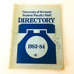 Vintage University Of Vermont Student Faculty Staff Phone Directory 1983-84