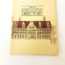 Vintage University Of Vermont Student Faculty Staff Phone Directory 1980-81