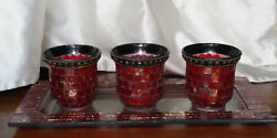 Dark Red Mirror Glass Mosaic 3 Tealight Votive Candle Holders W Tray Partylite