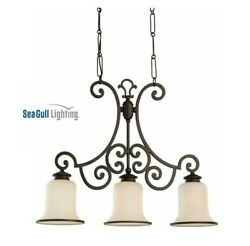Acadia 3-light Misted Bronze Island Pendant With Champagne Seeded Glass