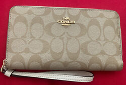 New Authentic Coach Women's Wallets Zip Wristlet in Beige and White Leather $69.00