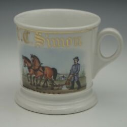 Haviland Limoges Occupational Shaving Mug Farmer Plowing The Field C.1880and039s