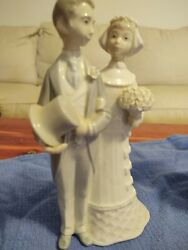 Lladro Wedding Day Bride And Groom 4808 Glossy Figurine Cake Topper Antique