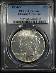 1934-s Peace Dollar Pcgs Au Cleaned Free S/h After 1st Item