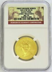 2012 W Gold 10 Alice Paul 1/2 Oz 2,798 Minted Spouse Coin Ngc Ms 70 Er