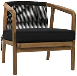 29 W Set Of 2 Occasional Chair Natural Teak Wood Modern Black Cotton Rope Back