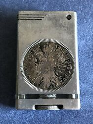 Trench Wwii Table Cigarette Lighter,aluminum With Silver Coins, Circa 1945