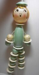 Antique 1920s Celluloid And Pearly Blue Wood Bead Baby Nursery Rattle Toy W/tag