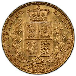 1884 Melbourne Young Head Sovereign - Shield - Pcgs Au58 - Full Lustre