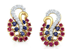 Christmas 1.20ct Natural Round Diamond Ruby And Sapphire 14k Gold Earring