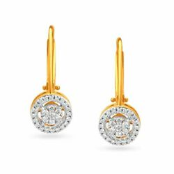 Christmas 0.95ct Natural Round Diamond 14k Solid Yellow Gold Hoop Earring