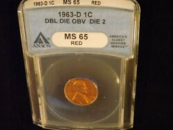 1963-d Penny Ddo Anacs Ms 65 Red