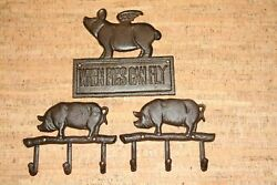 Farmhouse Mudroom Wall Hooks Rustic Pigs Can Fly Cast Iron