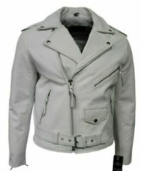 Menand039s Brando Fitted Classic Biker Designer Style White Cow Hide Leather Jacket