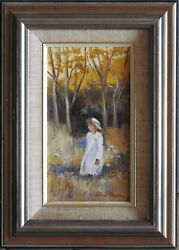 Gloria Ransom Impressionist Original Oil Painting Young Girl Picking Flowers Ii