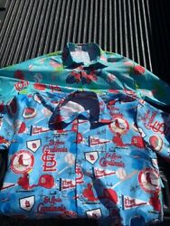 Two St Louis Cardinals Sga Hawaiian Type Xl Shirts - Ozzie Whitey And 11 Time Ws