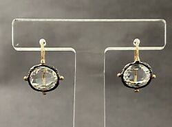 Edwardian Victorian Style 14k Gold Sterling Silver And Rock Crystal Earrings