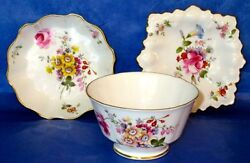 """Royal Crown Derby """"derby Posies"""" Vintage Bone China Sugar Bowl And 2 Lovely Dishes"""