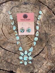 Stunning Navajo Sterling Silver Number 8 Turquoise Necklace And Earring Set